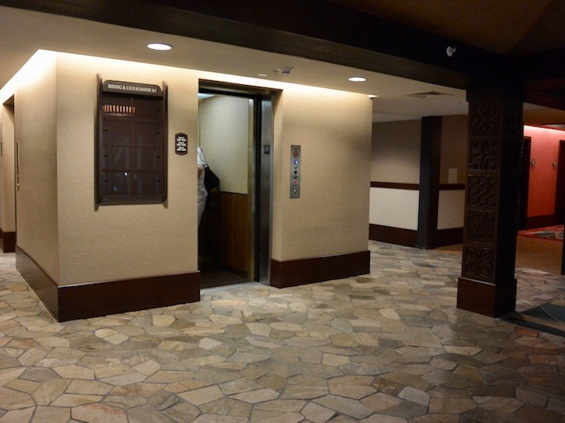 Moorea's small elevator; larger elevator to left