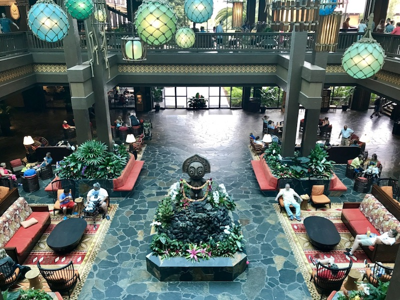 Second floor view of resort lobby