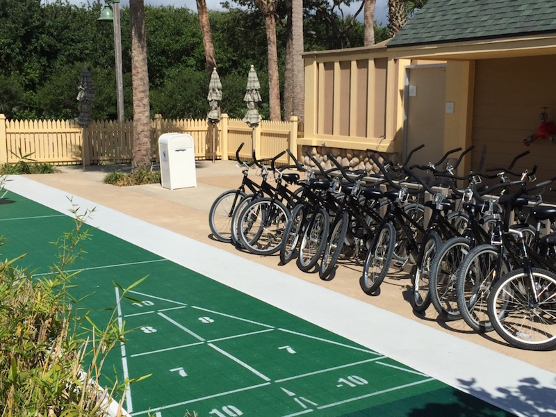 Shuffleboard court and bicycle rental
