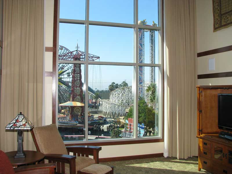 Two story picture window overlooking Paradise Pier