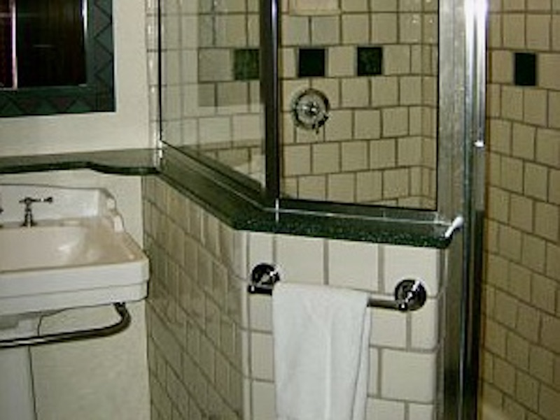 Shower stall and pedestal sink