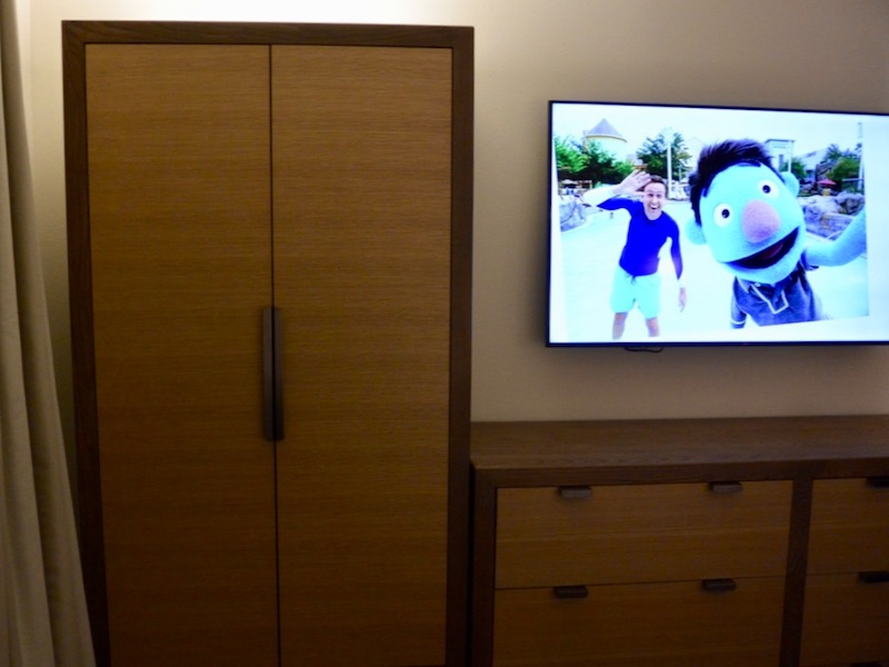 Master bedroom storage and flat panel TV