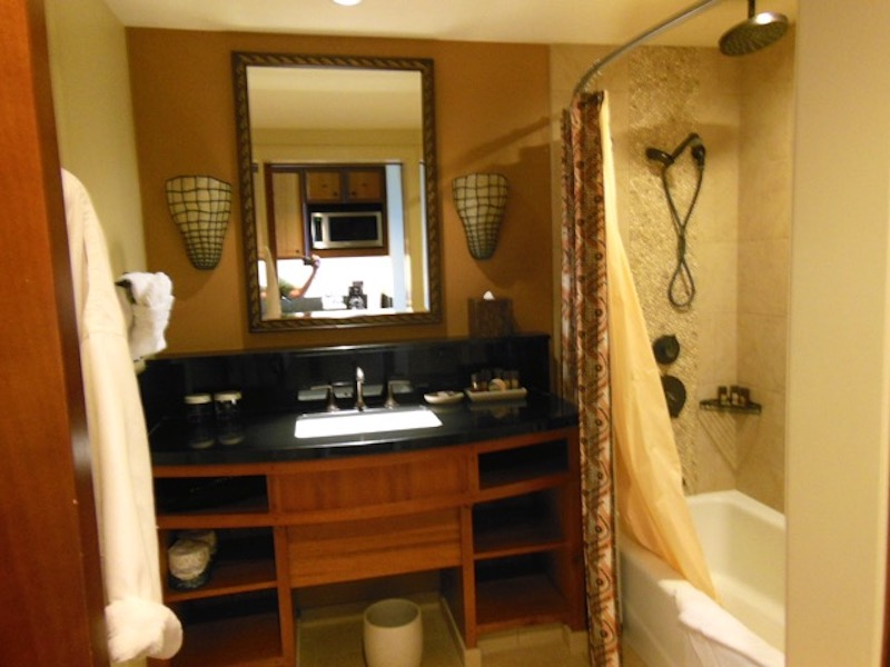 Studio bathroom vanity and tub