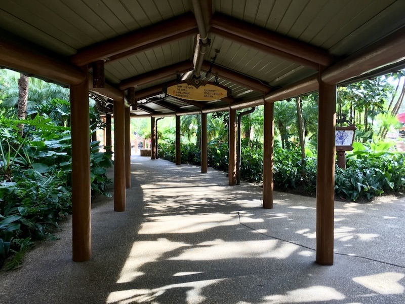 Covered walkway near resort pool