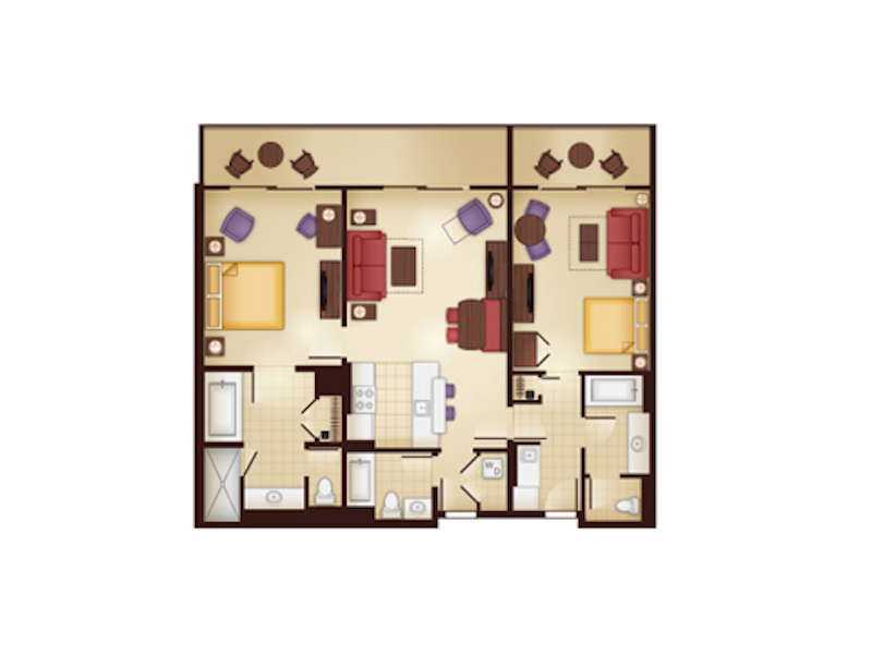 Kidani Village Lockoff Two Bedroom Villa floor plan