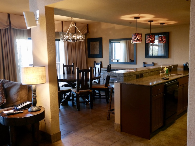 Grand Villa kitchen (right) dining room and living room (right)