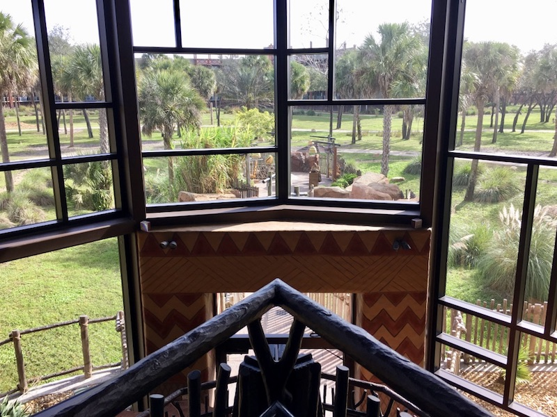 Rear lobby windows overlooking savanna