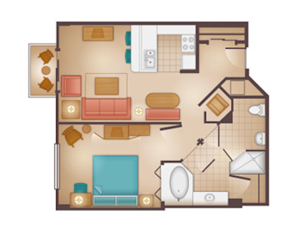 One Bedroom Villa Floorplan