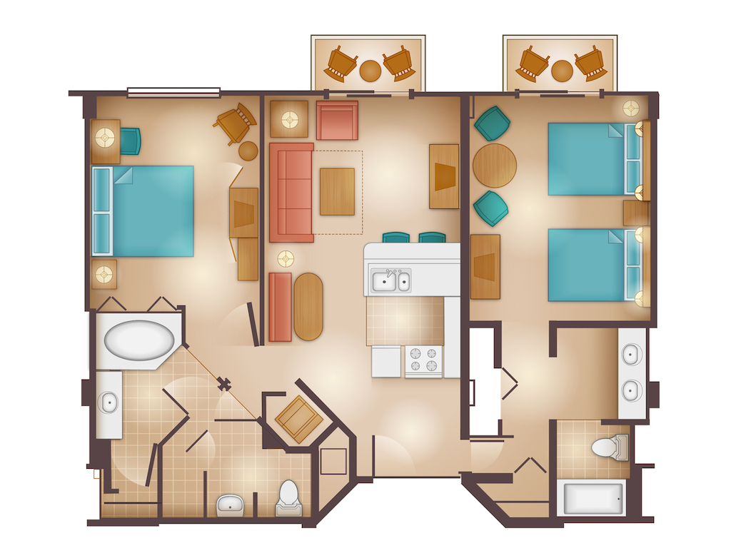 Dedicated Two Bedroom Villa Floorplan