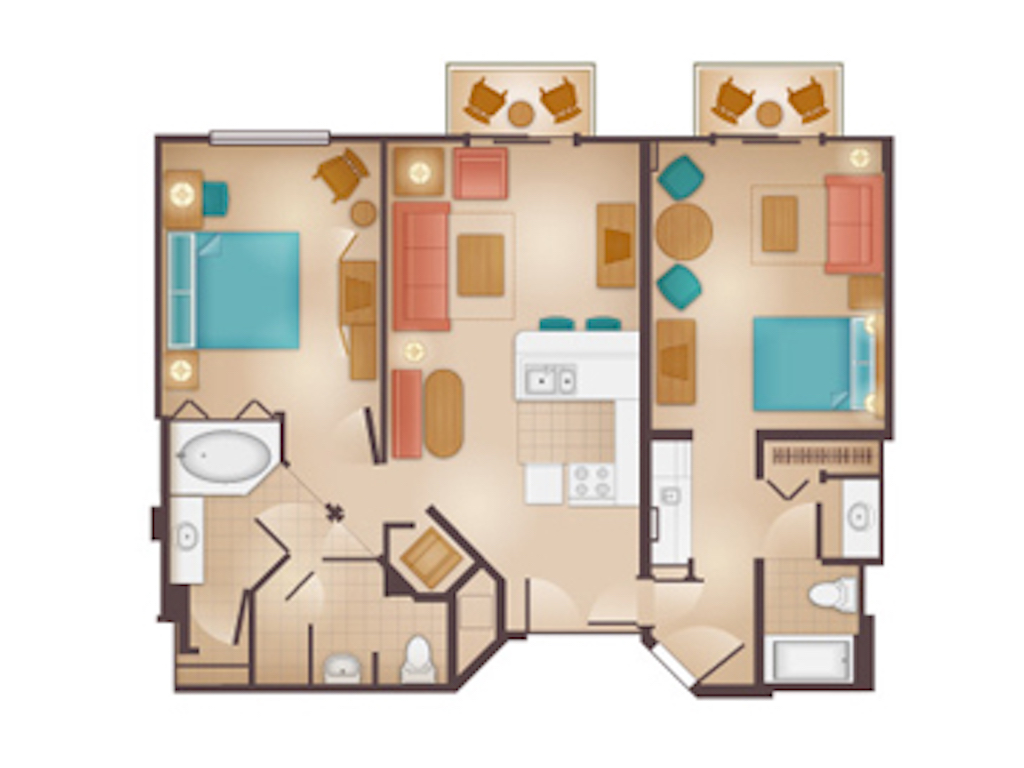 Lockoff Two Bedroom Villa Floorplan