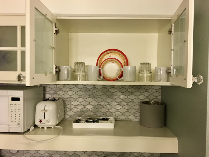 Kitchenette upper cabinet detail