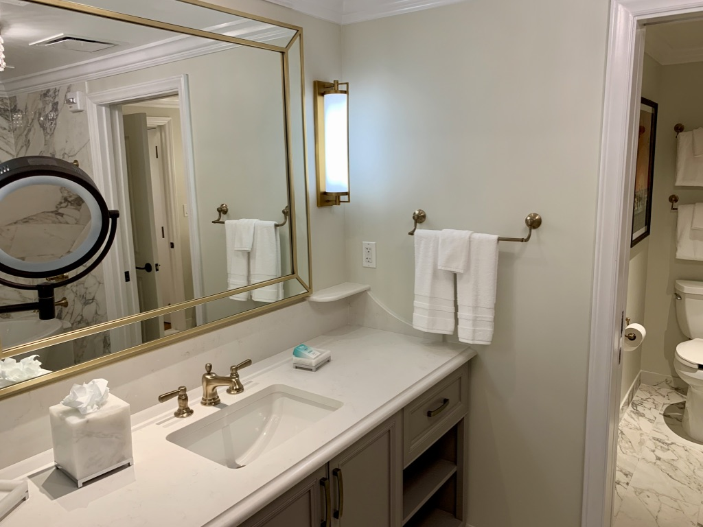 Master bathroom vanity and commode