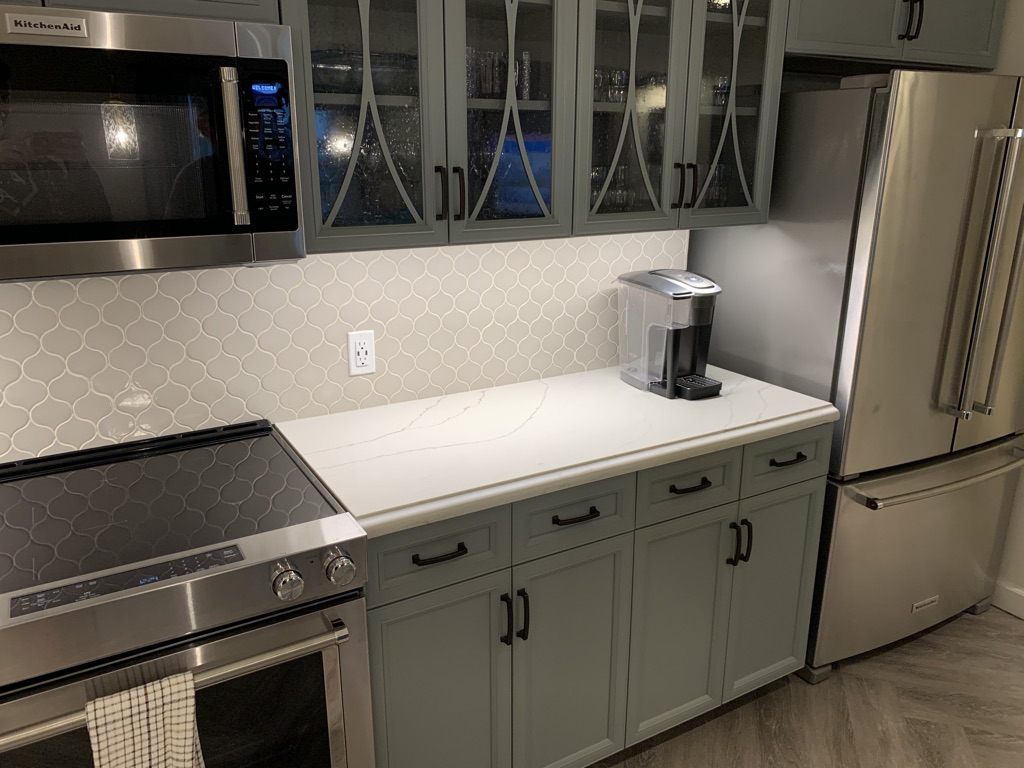 Kitchen cabinets and refrigerator