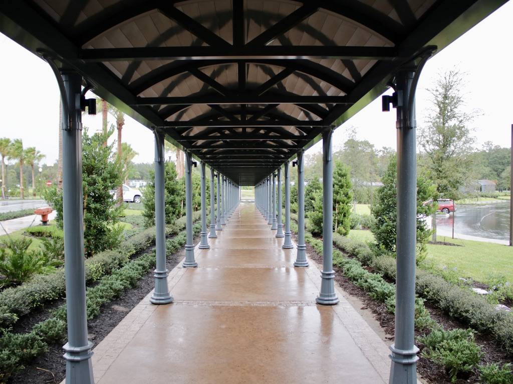 Walkway to bus stops