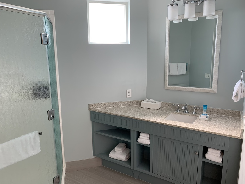 Master bathroom vanity and shower stall