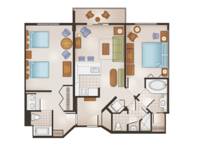 Dedicated Two Bedroom Villa floor plan