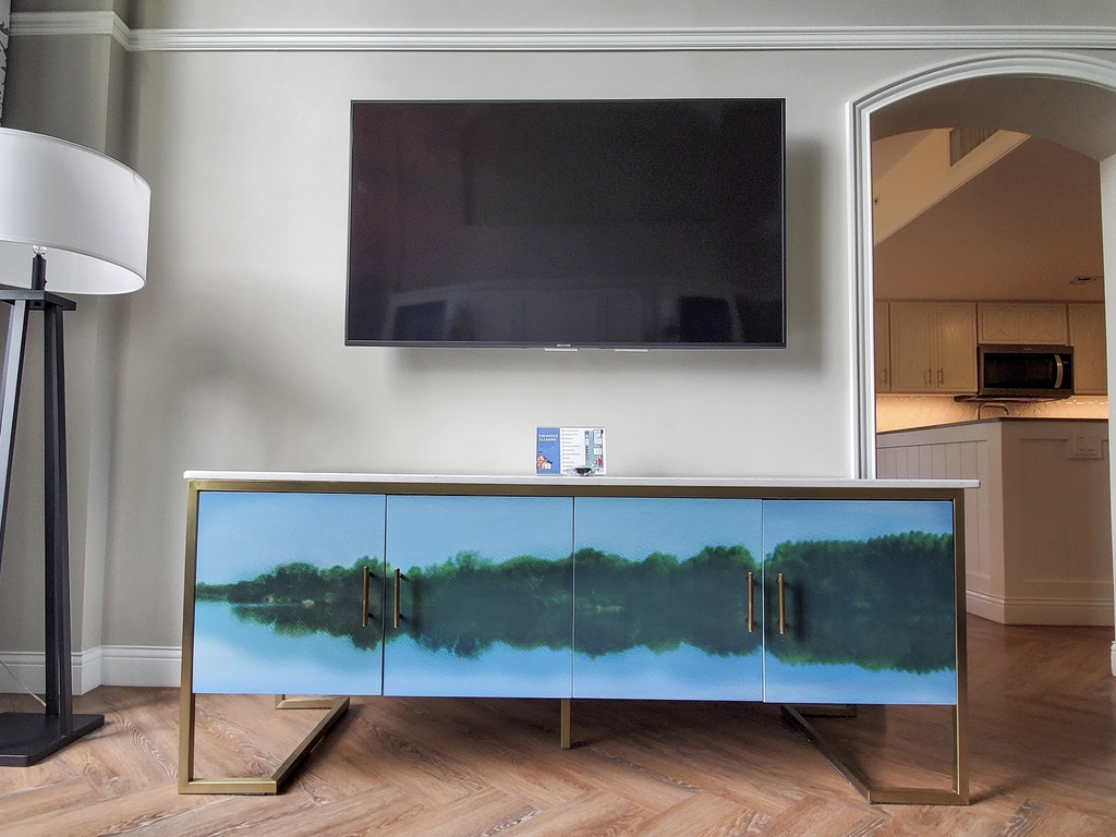 Living room TV and credenza