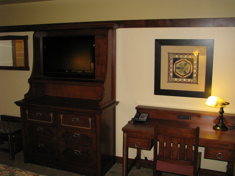 Bedroom television and writing desk