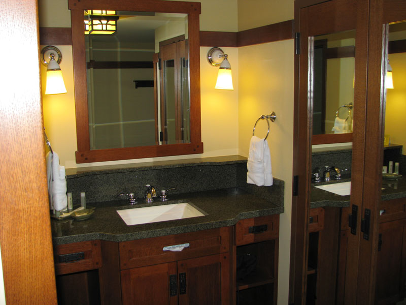 Bathroom vanity with closet on left