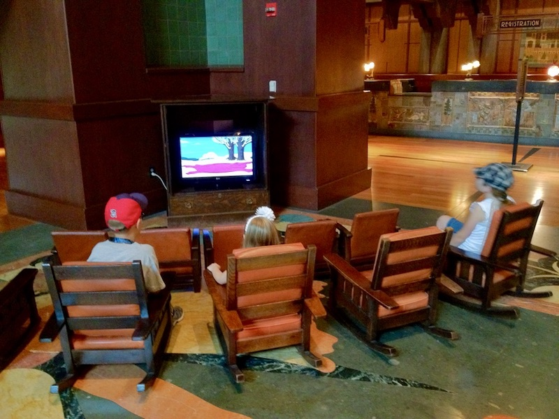 Kids waiting area with TV