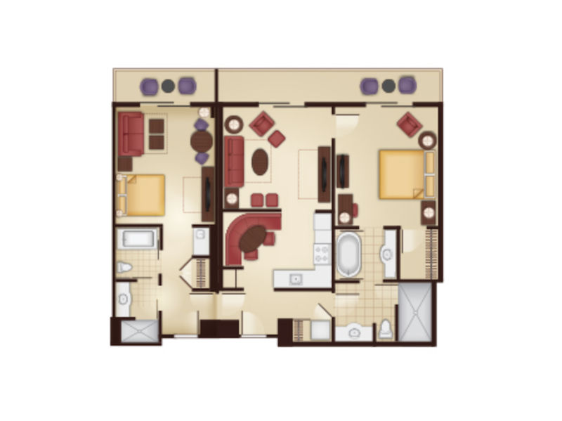 Lockoff Two Bedroom Villa floor plan
