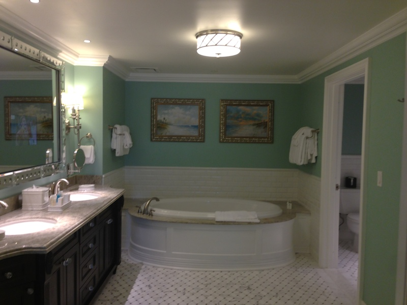 Grand villa master bathroom tub and vanity