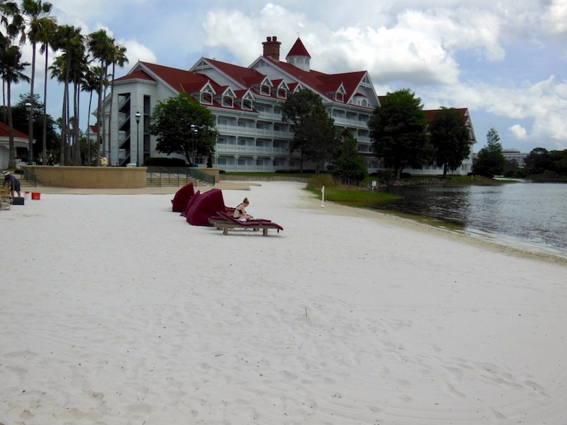 Resort beach with Seven Seas Lagoon on left